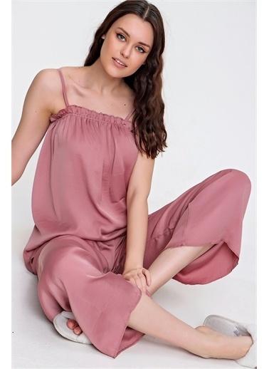 Pink Park Fırfır Detaylı Askılı Saten Pijama Takım URT0007 Kırmızı